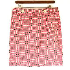 Talbots Size 10 Skirt Pink Brown Print Pencil